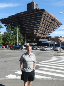Matt in front of the building where the score was recorded.